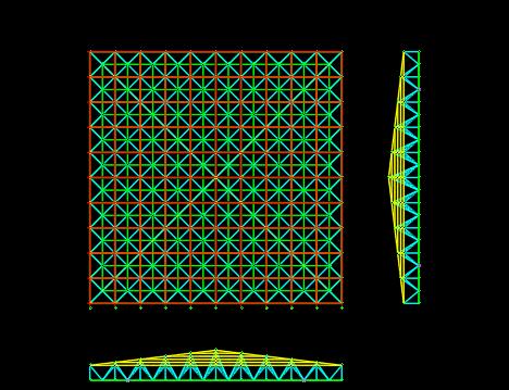 3D3S四坡钢结构网架屋面设计建模计算
